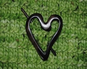 Heart-shaped Teak Scarf and Shawl Pin