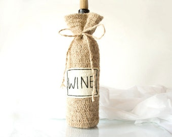 Personalized Rustic Wine Bottle Bag Cozy, Natural, Eco friendly - Made To Order, Eco Gift Basket