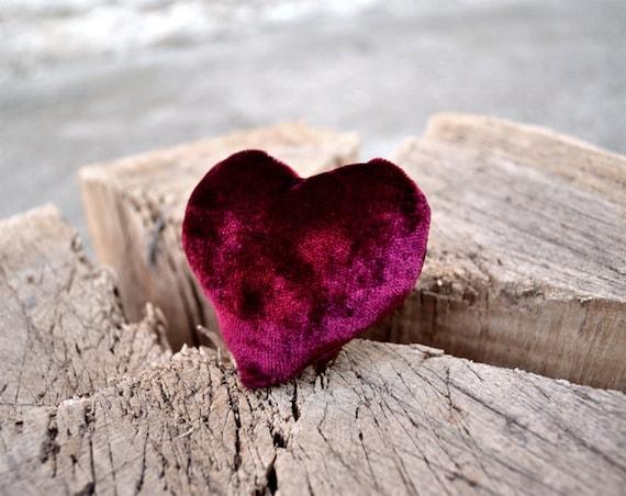 Red Velvet Heart Brooch Pin, Red Heart Clip, Red Wine Burgundy