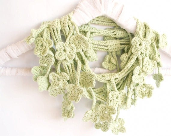 Mint Green Scarf, Egyptian Cotton Crochet Scarf, Floral