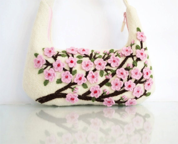 Felted Cherry Blossom Shoulder Bag in Ivory White