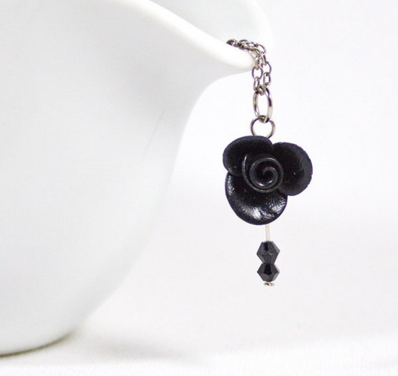 SALE Black rose and Swarovski pendant Polymer clay