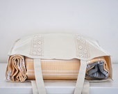 Cotton Tote Bag Beach Bag Yoga Bag Shopping  Bag Market Bag with Lace Handmade Organic  Natural Nature Earth Tones Sand Large Big