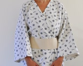 Cotton Long Kimono Robe with Obi Belt Eco Friendly Handmade