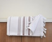 Peshtemal Turkish Bath Towel Double Sided Cotton Extra Absorbency Capacity Eco Friendly Fashion White Brown Earth Tones Pastel Natural
