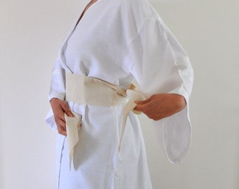 White Cotton Bathrobe Wearable Turkish Bath Towel Peshtemal Kimono Robe Eco Friendly Obi Belt Caftan Pure Elegant Angelic Minimalist