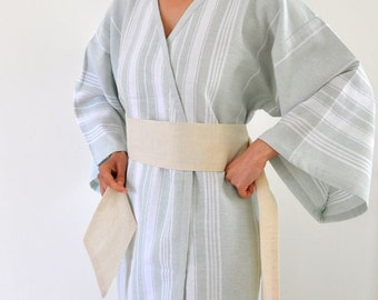 Cotton Kimono Robe Peshtemal Caftan Wearable Turkish Bath Towel Eco Friendly Pale Green with Obi Belt Military Olive Green Sage Cream Ivory