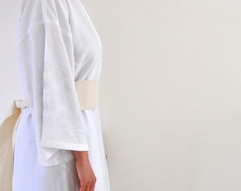 Handmade Eco Friendly White Cotton Silver Striped Kimono Robe - Wearable Turkish Bath Towel / Peshtemal Caftan Exclusive Shiny Glittery