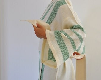 Kimono Robe Turkish Bath Towel Peshtemal Robe Caftan Green Emerald Forest Moss Olive Jade Peridot Avocado