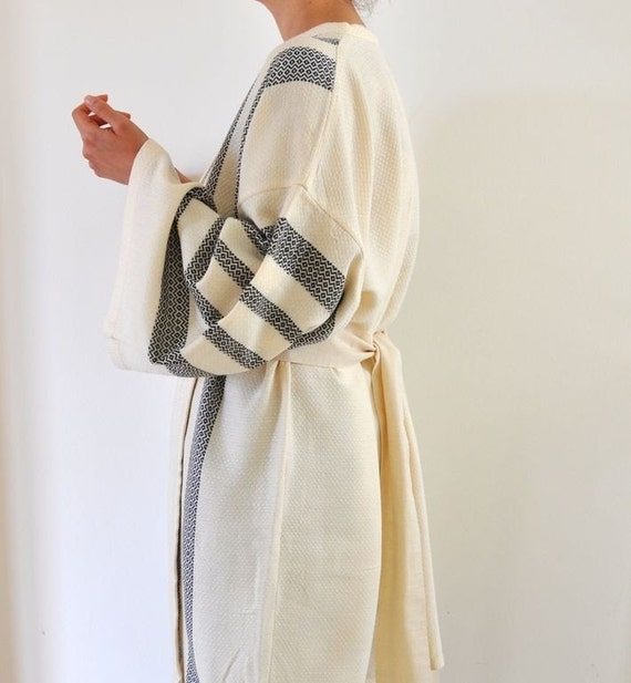 Turkish Bath Towel Bathrobe Peshtemal Kimono Robe Handmade Eco Friendly Extra Soft Cotton Caftan Obi Belt Ivory Dark Navy Striped