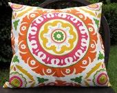 "SALE Orange Suzani Pillow cover in ""Solar Flair"" Fabric"