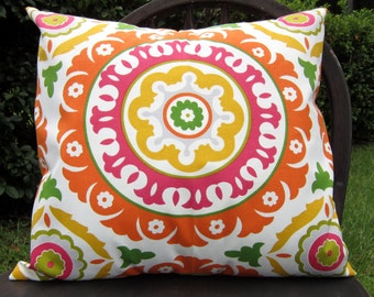 "SALE Orange Suzani Pillow cover in ""Solar Flair"" Fabric"