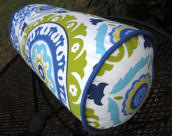 """Unique 20"""" x 9"""" Solar Flair Bolster Pillow features contrasting Modern Essentials Fabric by Waverly"""