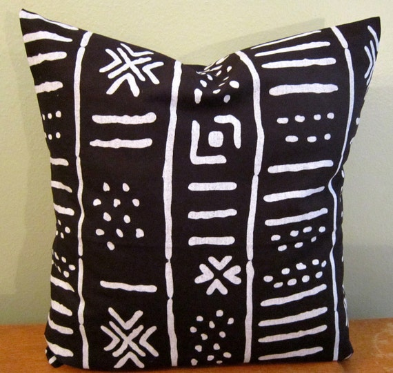 Decorative Pillow cover in Ethnic Black and White Print