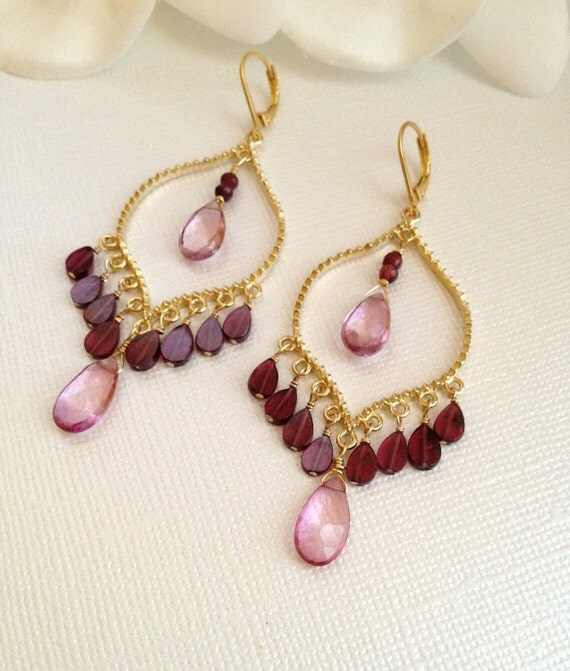 Pink Topaz and Garnet Gold Earrings