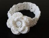 Crochet Flower Headband for Baby to Toddler/ Removable, Interchangable Flower