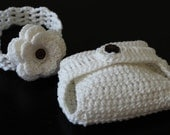 Crochet Diaper Cover with Flower Button and Flower Headband Set/ Newborn to 6 Months Photography Prop/ COMPLIMENTARY SHIPPING