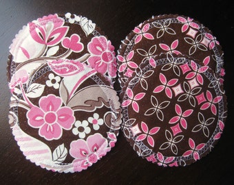 Washable Organic Breast Pads w Bamboo and PUL/ 2 pairs