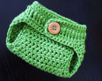 Crochet Diaper Cover with Button/ Newborn Photography Prop/ Green