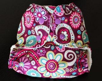 One Size Pocket Diaper/ AIO Pocket Diaper/ Newborn to 35 lbs.