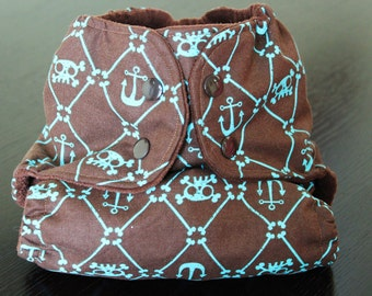 One Size Pocket Diaper/ AIO Pocket Diaper/ Newborn to 35 lbs./ Anchor and Cross Bone