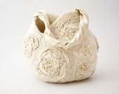Bridal purse nuno felt, Beige flower handbag