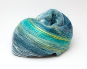 SALE Fiber batt for spinning or felting, merino wool, silk, 2,3 oz, blue tones