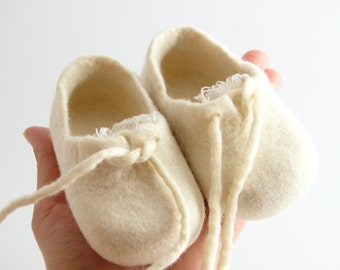 Felted Baby Sneakers, merino wool newborn booties