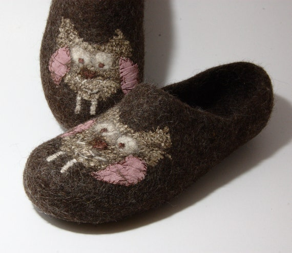 Felted slippers Owl - handmade eco slippers - made to order all sizes