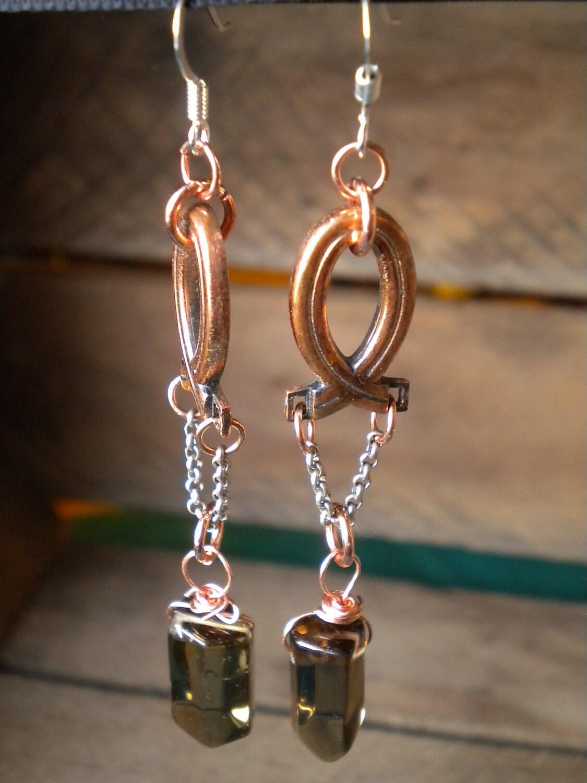 Copper Smokey Eyes Early Fall Makeup Look: Smokey Quartz & Copper Vintage Earrings By DearElkDesigns