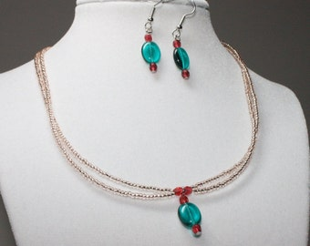 Green, Pink, and Champagne Necklace and Earring Set; Beaded Jewelry Set