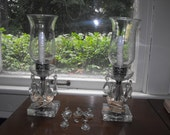 Vintage Crystal/Glass Prism Hurricane Table Lamps