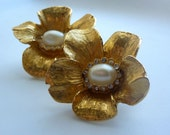 Golden Blossom vintage Flower clip on Earrings with Rhinestone and pearl center