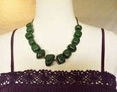 beaded necklace / green jade chunky statement necklace