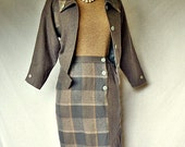 80s skirt suit / vintage 1980s gray plaid wool jacket and skirt