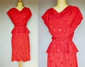 red dress / 80s peplum dress / polka dot 40s style dress