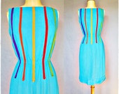 50s dress / 1950s dress / bright stripe linen wiggle dress -s/m