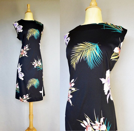 Reserved for D - 1960s dress / 60s black floral dress / Balmy Night Dress