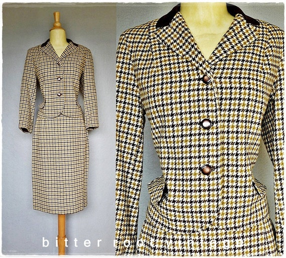 60s skirt suit / 1960s houndstooth suit / Kelita wool skirt and jacket