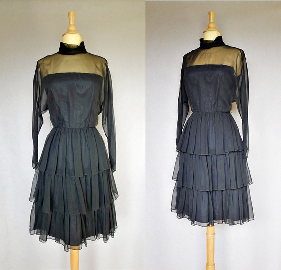 60s dress / Eisenberg sheer ruffle black cocktail dress - medium