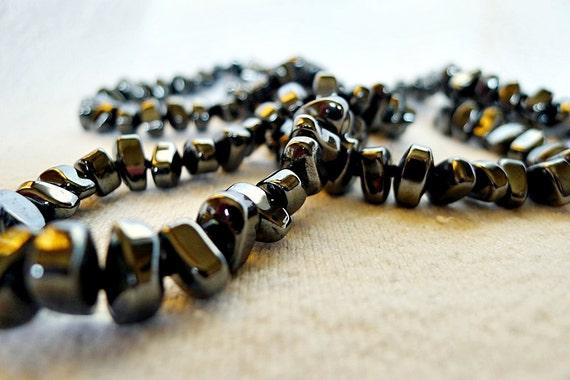 vintage necklace / 60s beaded hematite rope necklace / Dark Crystal Necklace