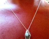 Sterling Silver Angel Wing & Blue Quartz Necklace