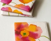 Ceramic coasters  Watercolour Poppies Orange and Pink, set of 4