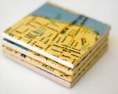 Map Coasters, Ceramic Tile Coasters - New York City Map - set of 4