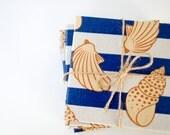 Drink coasters, Marine Stripes and Sea shells, Coastal Navy Beach Summer set of 4