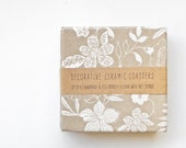 Ceramic coasters, Delicate Flowers White on Tan / Oatmeal, set of 4