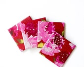 Painted Peony Tile Coasters in Fuchsia set of 4 - Tilissimo