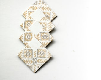 Ceramic Coasters, Tribal Pattern, set of 4