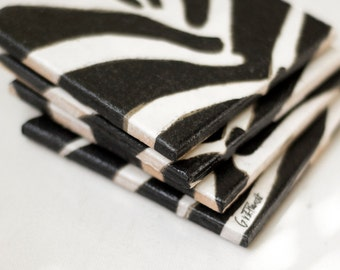 Ceramic Tile Coasters Zebra Black and White Stripes African Tribal Modern,set of 4