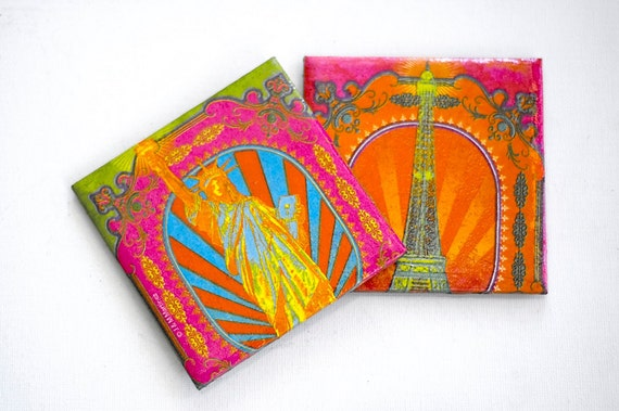 Neon coasters Paris and New York  set of 2, FREE SHIPPING